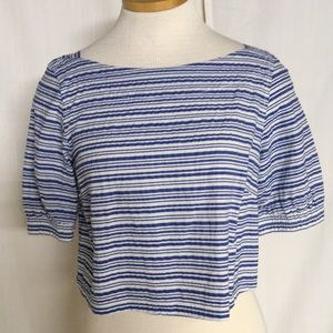 J. Crew Striped Cropped Blouse